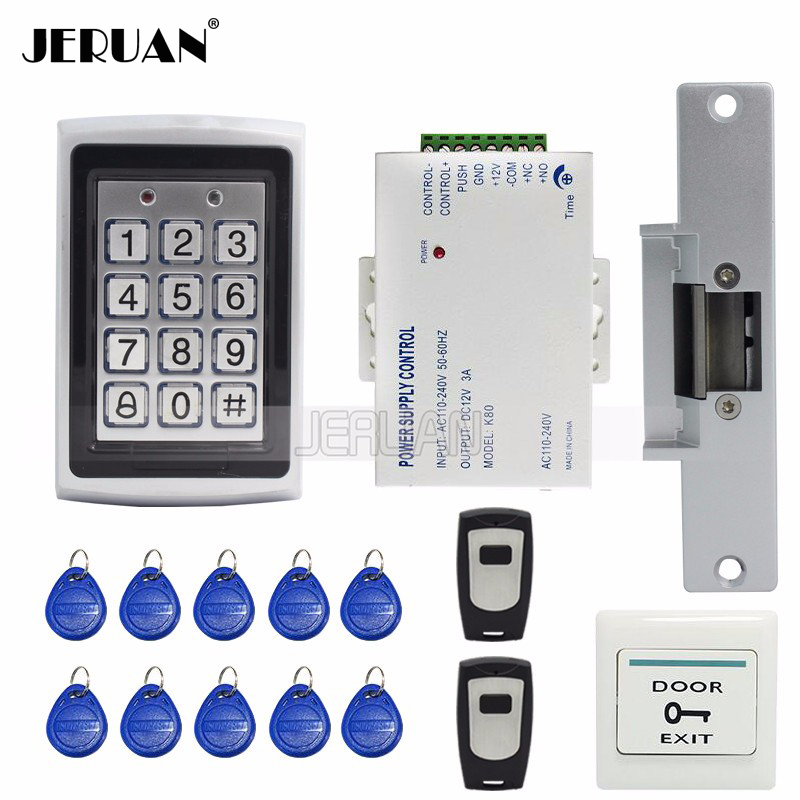FREE SHIPPING New Metal RFID Door Access Control System Kit Set +Strike Door Lock + Power +Exit Button + 2 Remote controller