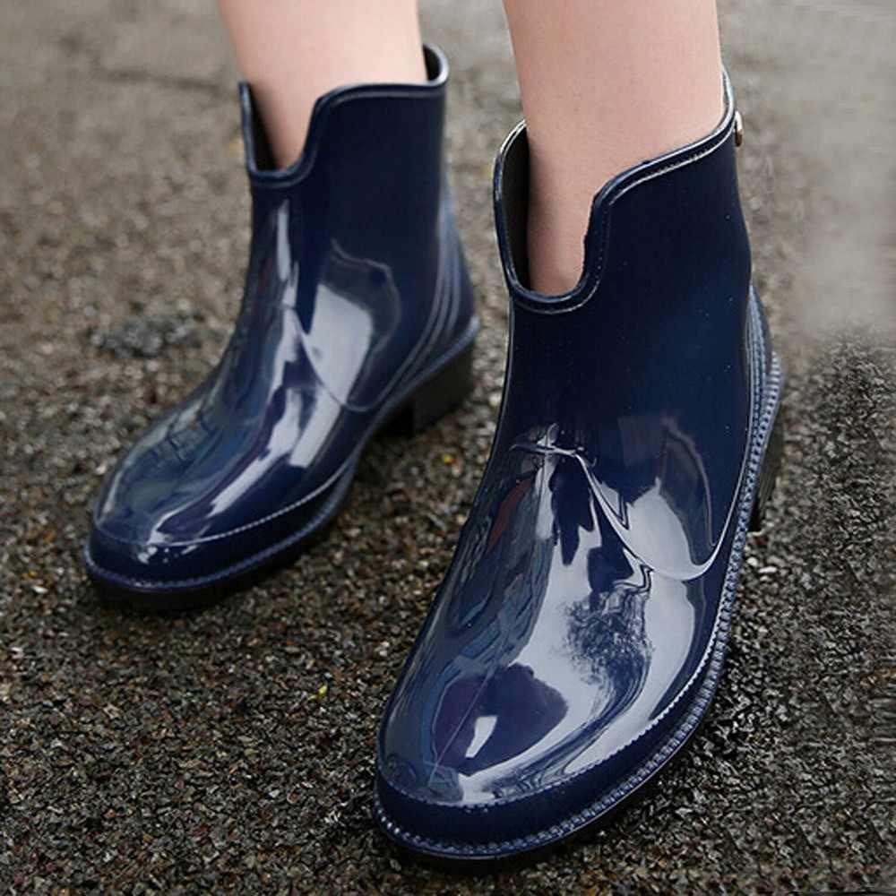 Leopar yağmur çizmeleri kısa su botları su geçirmez yağmur çizmeleri kadın Slip-On Chelsea çizmeler açık Anti kayma isıtıcı yürüyüş kar botları