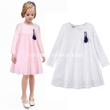 2016 New Arrival spring and autumn girl dress cat print grey baby girl dress children clothing
