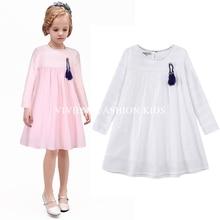 2016 Новое Прибытие весной и осенью девочка платье кошка печати серый девочка платье детей одежда детей одеть 1-8years