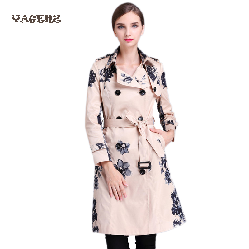 Europe Fashion Women   Trench   Coat 2017 New Classic Print Long Sleeve Slim Waist   Trench   Coats Elegant Ladies Work Long Outerwear