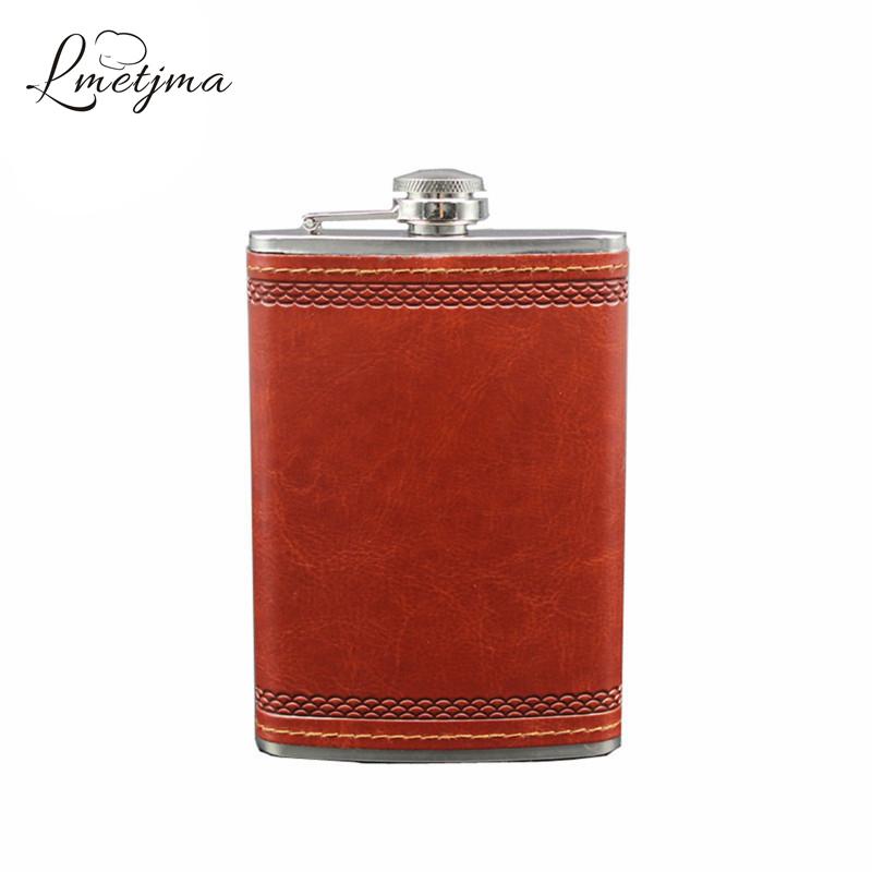 LMETJMA 9oz Portable Stainless Steel Leather Hip Flask Mini Hip Flask Personalized Drink Cup Mug Bottle Wine Flask K0045