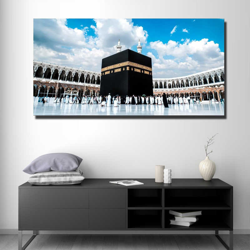 No Frame Islamic Painting on Canvas Muslim Wall Art Landscape Painting Masjid Al-haram Living Room Decor Prints Pictures Artwork