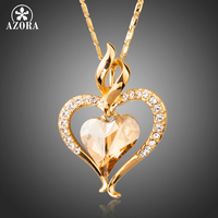 AZORA Long Link Chain Heart Austrian Crystal Gold Color Heart Pendant Necklace For Valentine S Day