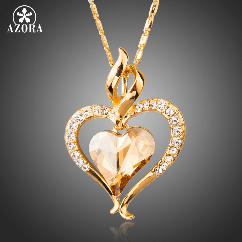 AZORA Long Link Chain Heart Austrian Crystal Gold Color Heart Pendant Necklace for Valentine's Day Gift of Love TN0204 yoursfs 18k rose white gold plated letter best mum heart necklace chain best mother s day gift
