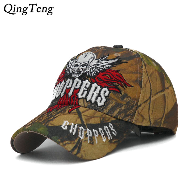 99b745290 2018 New Embroidered Skull Cap Men Camouflage Hunting Baseball Caps  Tactical Style Cap Casual Cool Dad Hat Fishing Bone Casquett-in Baseball  Caps from ...