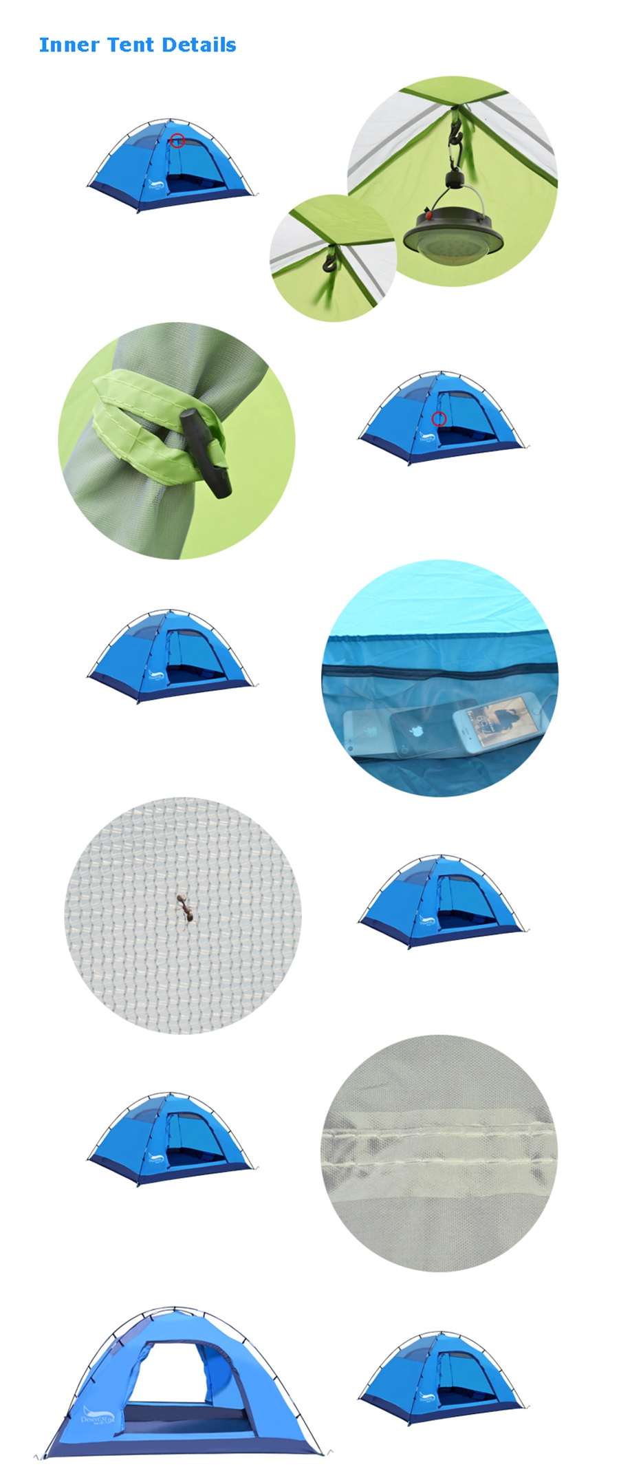 Desert&Fox Automatic Camping Tent, 3-4 Person Family Tent Double Layer Instant Setup Protable Backpacking Tent for Hiking Travel 9