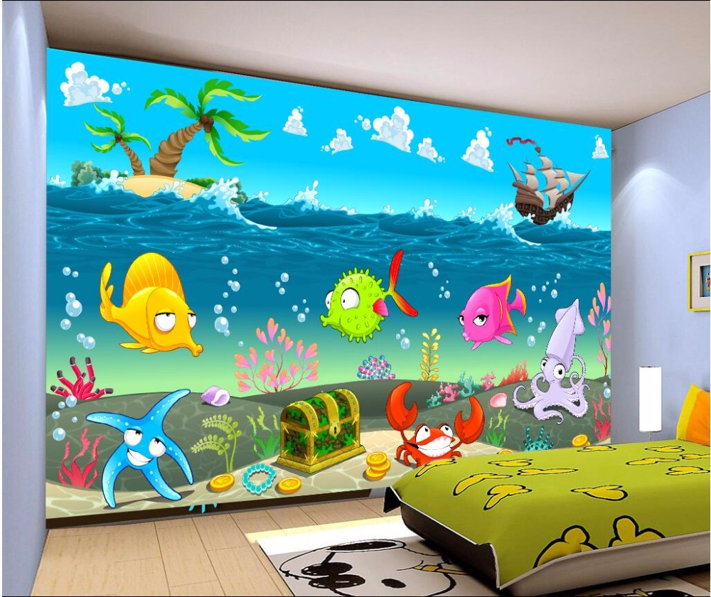 Custom mural photo 3d room wallpaper cartoon sea world for Custom mural painting