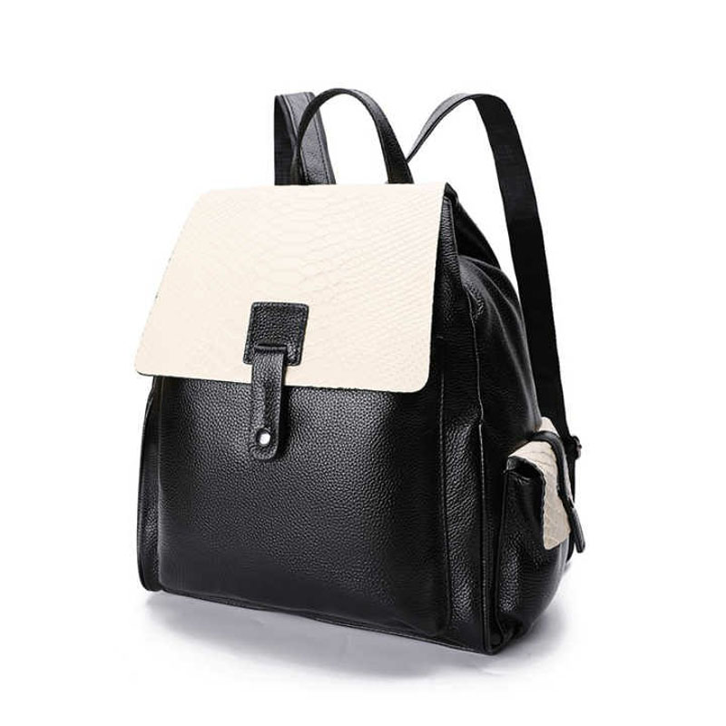 Preppy Style Panelled Girl Student School Bag Leisure Serpentine 100 Natural Leather Women s Backpack Soft