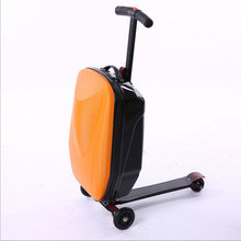 20 inch scooters trolley case 100% PC 3D extrusion business Travel luggage child Boarding box Travel case bags Roller suitcase(China)