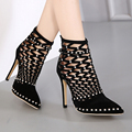 Fashion Popular rivets high heeled shoes sexy pumps black Hollow ankle boots shoes woman elegant high heels wedding shoes