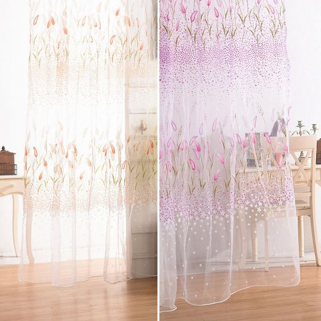 1PCS/Lot Window Curtain Fabric Floral Transparent Burnout Sheer ...