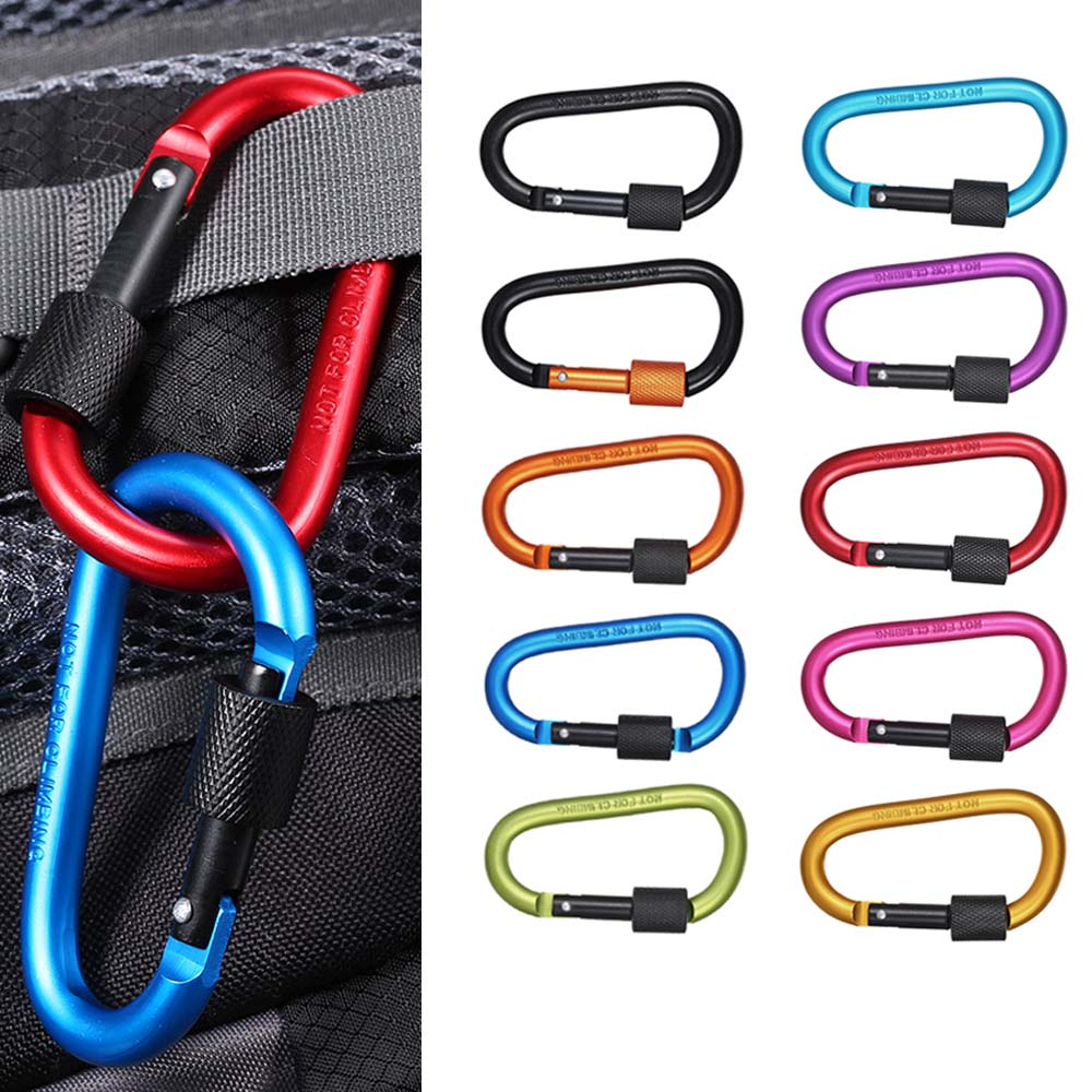 Alert Ultra Strength Metal Locking Carabiners Clip Outdoor Backpack Hanging D Shape Buckle Keychain Rings Gear For Hiking Camping Can Be Repeatedly Remolded.