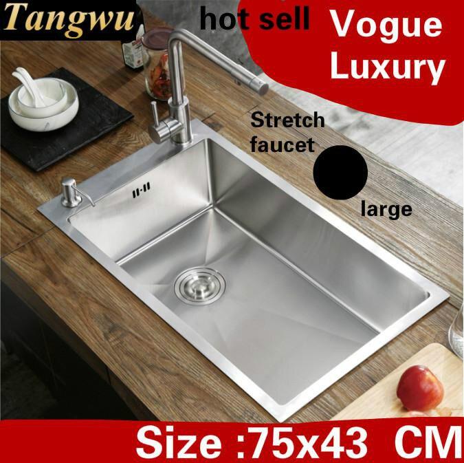 Livraison gratuite appartement grande cuisine manuel évier unique auge luxe robinet extensible 304 acier inoxydable vente chaude 750x430 MM