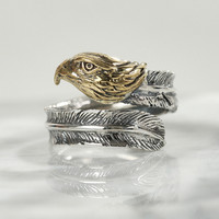 High Quality Eagle Feather 925 Sterling Silver Rings For Men Women Couple Vintage Thai Silver Opening