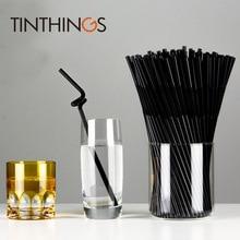 100 Pcs Disposable Plastic Straws black Flexible Wine juice drinking straw Kids Birthday Wedding Supplies Store