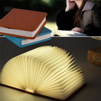Novelty 5 colorful change Led Book Light USB Rechargeable LED Foldable Wooden Book Shape Desk Lamp Nightlight table lamp