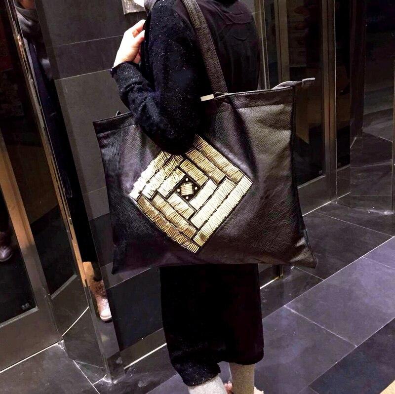 Kostenloser versand Big bags weiblichen kurzen schultertasche große kapazität frauenhandtasche trend schaffell allgleiches einkaufstasche