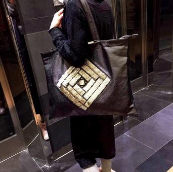 Бесплатная доставка, большие сумки, женская сумка на плечо, вместительная, трендовая сумка из овчины, универсальная сумка для шоппинга