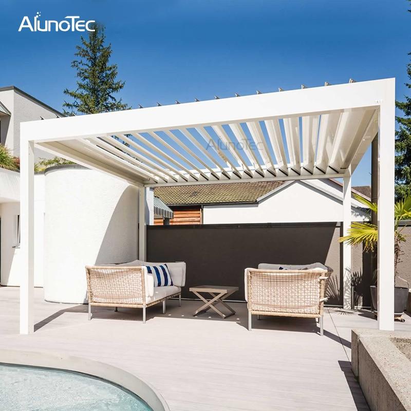 outdoor customized aluminium garden sunshading waterproof louvre roof 4m x 4m x 3m