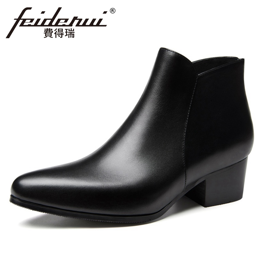 2018 Fashion Genuine Leather Mens Martin Ankle Boots Pointed Toe High Heels Back Zip Handmade Man Cowboy Riding Shoes HQS2712018 Fashion Genuine Leather Mens Martin Ankle Boots Pointed Toe High Heels Back Zip Handmade Man Cowboy Riding Shoes HQS271