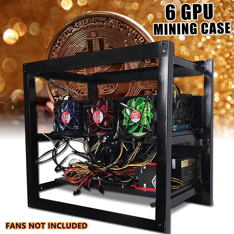 S SKYEE 50x50cm Miner Frame Bracket Open Air Mining Miner Frame Rig Case Bracket 6xGraphics Card 3xFan For 6 GPU ETH Ethereum