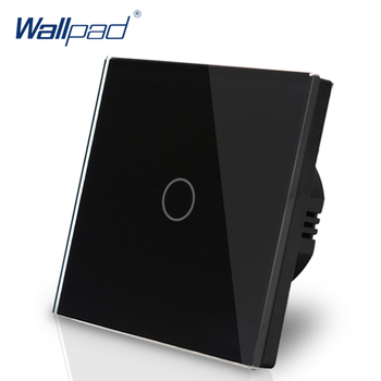 цена на EU Standard Wallpad Black Touch Control Switches 1 Gang 2 Way Crystal Glass Panel Wall Touch Switch LED Indicator  Free Shipping