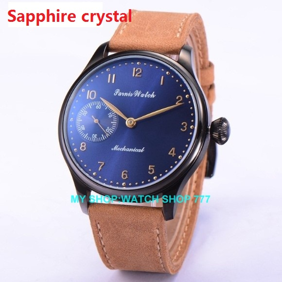 Sapphire crysta 44mm PARNIS ST3600 6497 Mechanical Hand Wind men s watch Mechanical watches PVD watchcase
