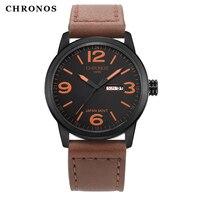 Роскошный топ бренда Chronos часы Для мужчин Пояса из натуральной кожи Повседневное японские кварцевые часы Водонепроницаемый Дата часы Relogio ...