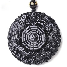 цена на Drop Shipping Natural Black Obsidian Pendant Hand Carved Dragon Phoenix Taiji BaGua Necklace  For Men Women LongFeng Gift
