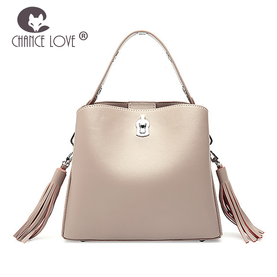 Chance Love 2018 new women's bag tassel bucket handbag female Genuine leather slanting shoulder bag shoulder strap beige bag new arrival crocodilian veins embellished handbag slanting bag for female