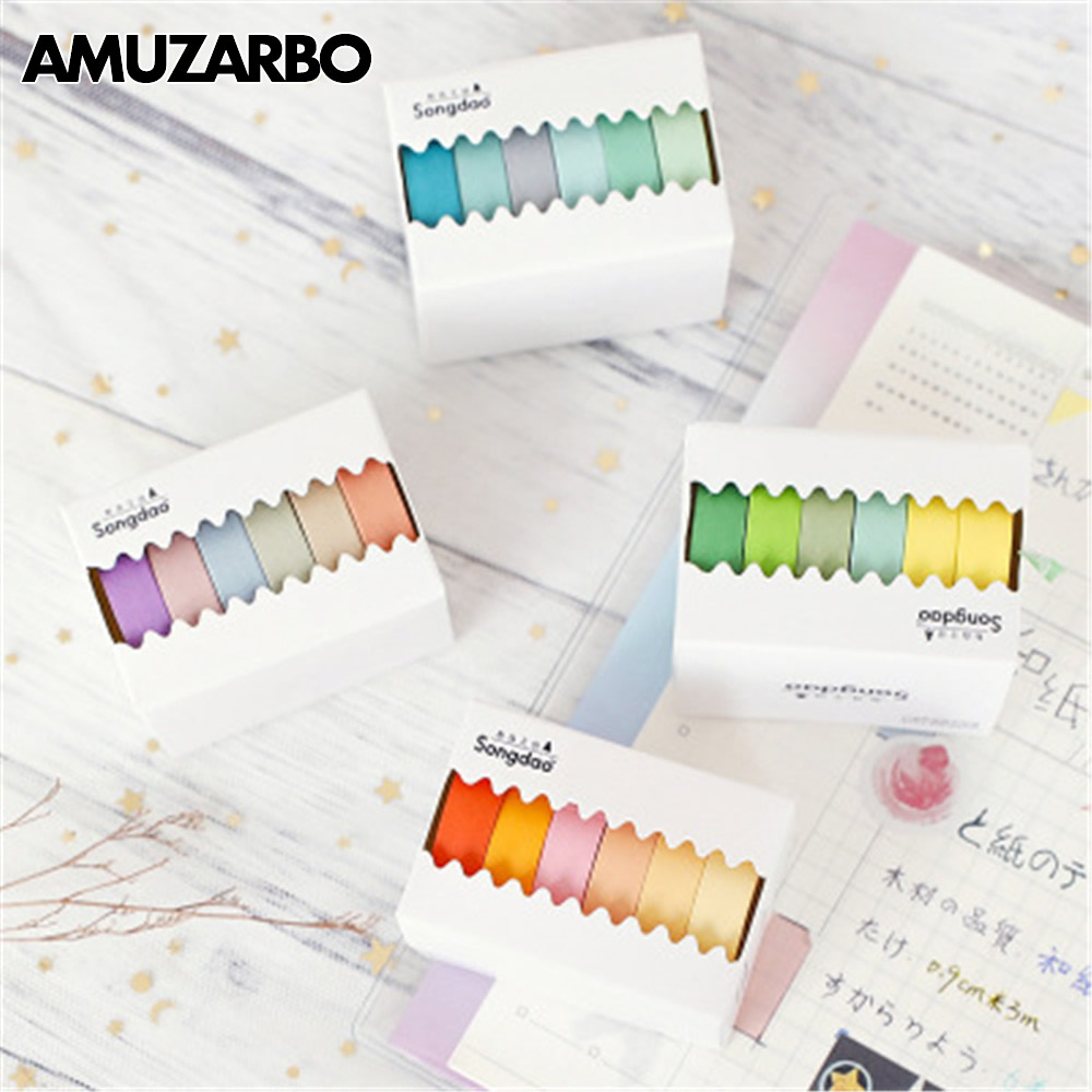 6 Pcs/lot Decorative Paper Basic Solid Color Paper Washi Tape Set Japanese Stationery Kawaii Scrapbooking Supplies Stickers