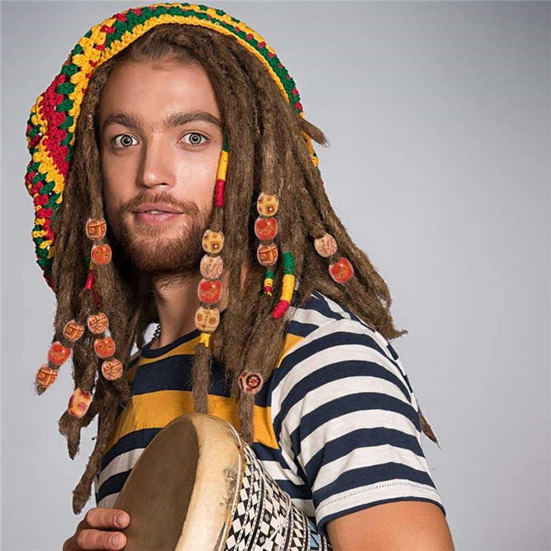Mix Цвет Dreadlock бисера Деревянный волос оплетенные бусины большая дыра Dreadlock кольцо с круглым камнем трубки для плетения бусины для волос 7,5 мм отверстие