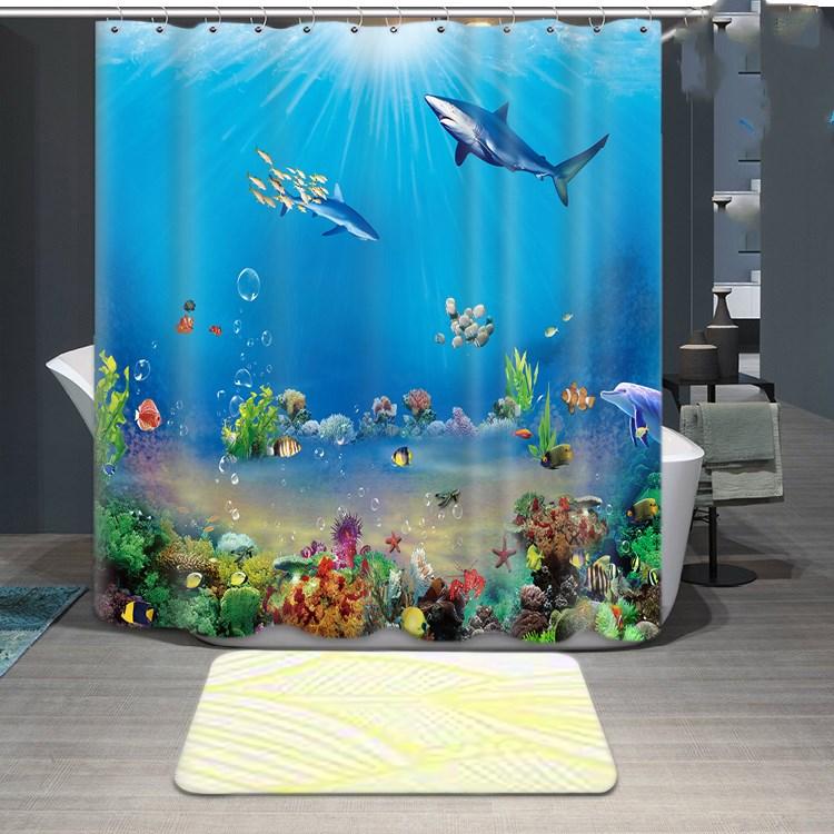 1800x1800mm Customized underwater world fish bathroom shower curtain waterproof thickening mildew bathroom curtain partition-4