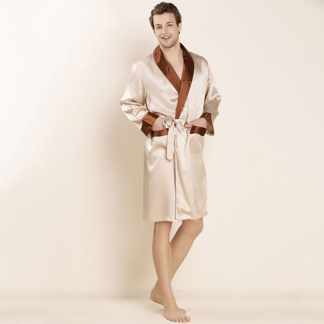2017 100% Real Silk Robe with Belt Mens Bathrobe Male Loungewear Solid Pajamas for Summer Turn-down Collar LX80045