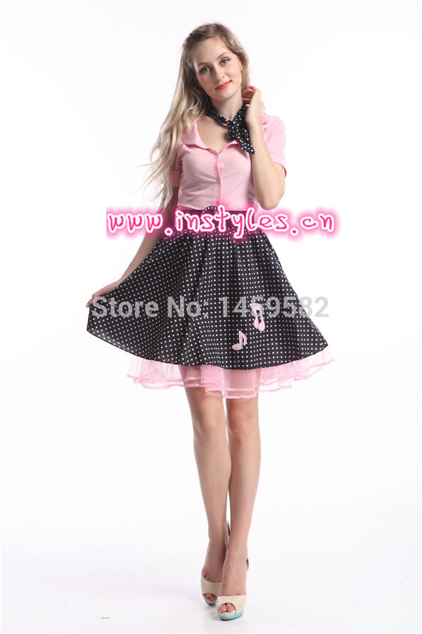 free shipping ladies ZY274 1950s poddle dress costume Grease Rock Roll Bopper Fancy Dress Costume