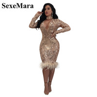 2017 Fashion Autumn Winter Long Sleeve Midi Bandage Dress High Quality Sexy Sequin Mesh Women Club