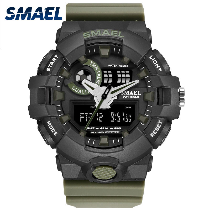 Military Army Green Men Fashion Sport Watches Waterproof Dual Display LED Light LCD Decorate Relogio Masculino Uhren Clock 1642