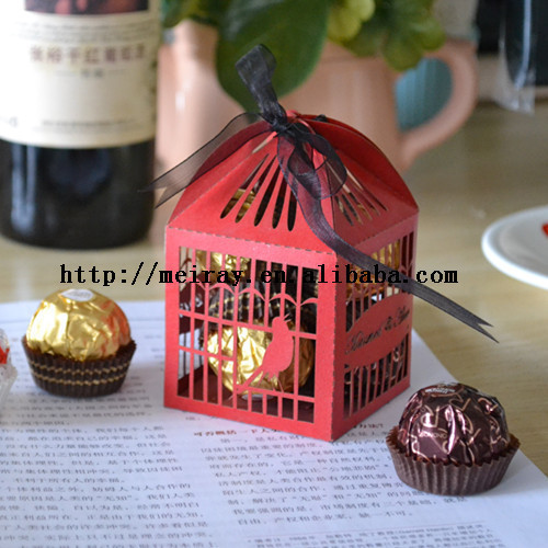 Wedding Door Gift Online Malaysia: Paper Love Birds Cage Red Wedding Candy Bar Boxes For