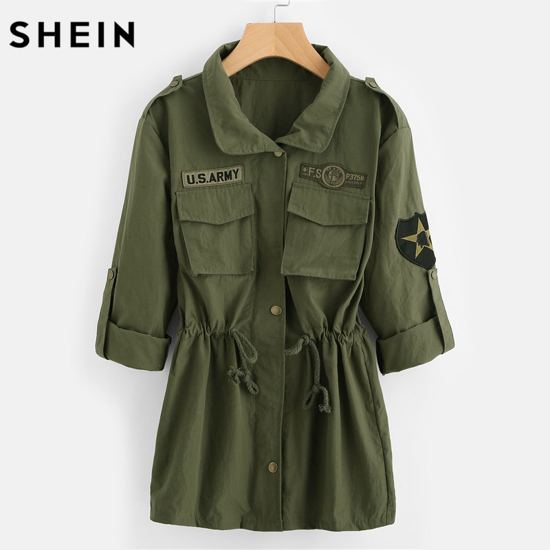 SHEIN Drawstring Waist Patch Sleeve Utility Jacket Green Single Breasted Autumn