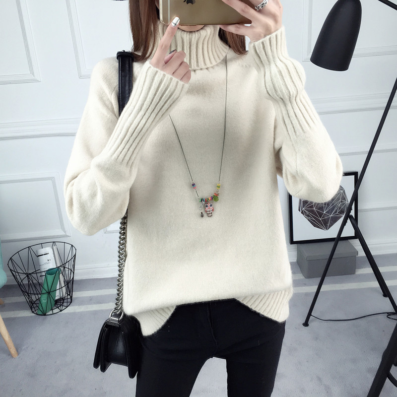2018 Autumn new women sweater loose comfortable Pullovers Turtleneck solid color long-sleeved knitting female sweater ly0330
