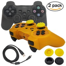 blueloong 2pcs Black and Gold Color Wireless Bluetooth Joystick Gamepad For Playstation 3 PS3 Controller + Free Shipping
