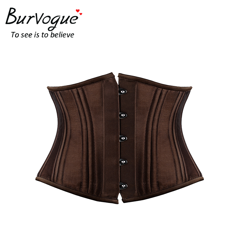 Burvogue Hot women satin corset for waist trainning Black waist cincher corset Sexy 22 steel bones short underbust corsets
