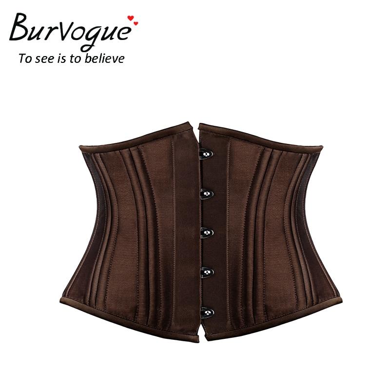 Burvogue Hot women satin   corset   for waist trainning Black waist cincher   corset   Sexy 22 steel bones short underbust   corsets