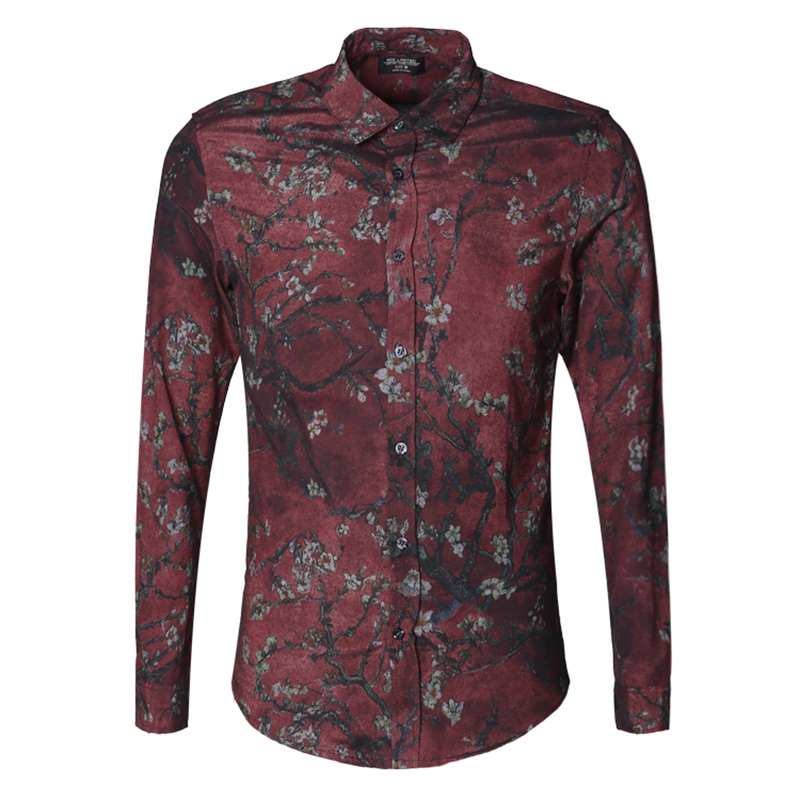 Image 4 - Men new winter Vintage shirt printed flower long sleeve shirt men  slim fashion cotton European style quality brand shirt S2333shirt men  slimsleeve shirt menbrand shirt men