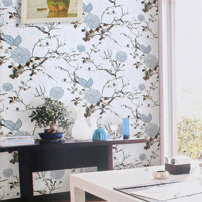 beibehang Classical ink flowers and birds wallpaper American bedroom study living room TV background wallpaper non woven fabrics free shipping chinese ink classical retro wallpaper mural living room tv room wallpaper