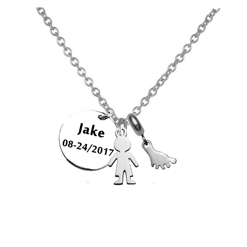 New Born Baby Boy Necklace Pendant Stainless Steel Custom Name Baby Boy Necklace Pendant With Footprint Charm Necklace