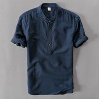 2018 New Summer Brand Shirt Men Short Sleeve Loose Thin Cotton Linen Shirt Male Fashion Solid