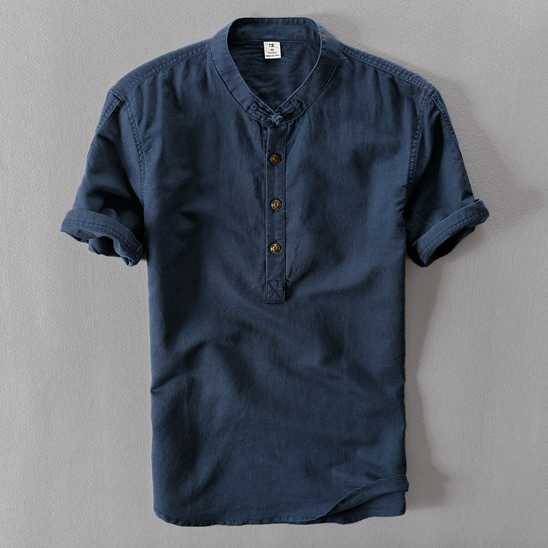 Linen Shirt Short-Sleeve Loose Thin Male Fashion Cotton Summer New Trend O-Neck Solid title=