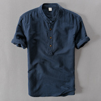 2019 New Summer Brand Shirt Men Short Sleeve Loose Thin Cotton Linen Shirt Male Fashion Solid Color Trend O Neck Tees